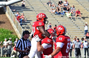 MIles Jones celebrating after his first career touchdown at JSU