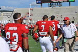 Mike Bradford (83) takes the field as a captain before the Murray State game.