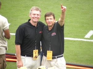 Bill Nash (left) and Greg Harley (right) at JSU's game against Georgia Tech in 2009.